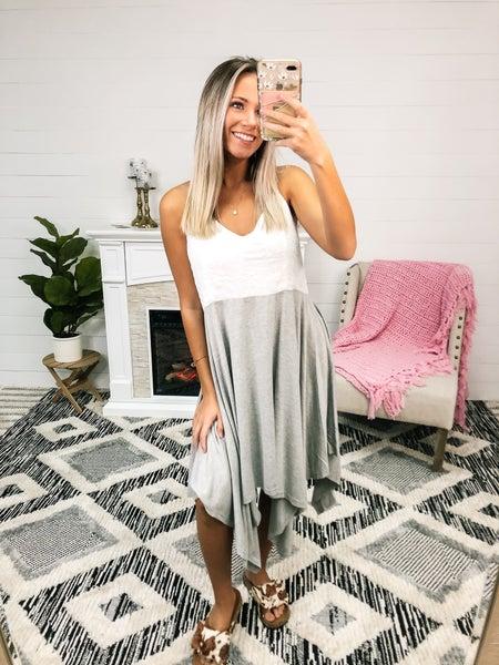 On Island Time White & Grey Dress