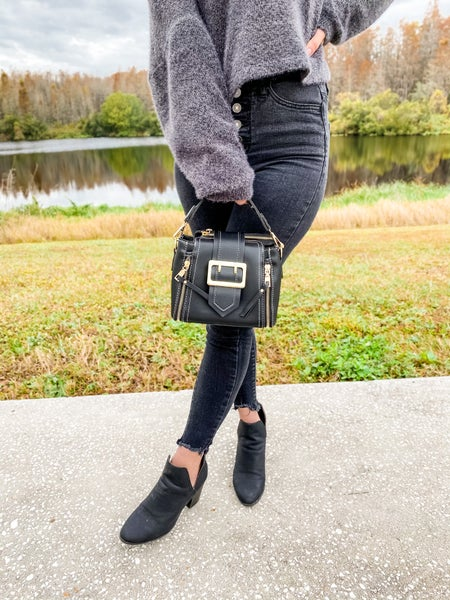 Black Stitched Point Dandy Tote Bag