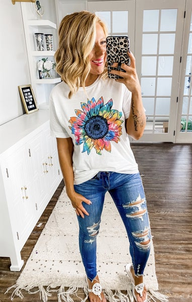 Colorful Sunflower Graphic Tee