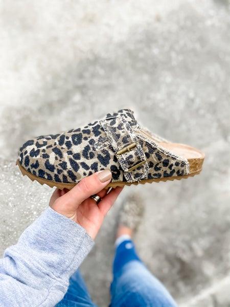 Tan Leopard Backless Slip On Shoe