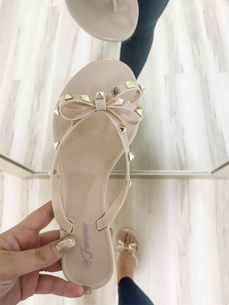 Nude Studded Bow Jelly Sandals