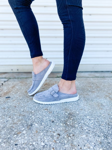 Grey Backless Buckle Shoes