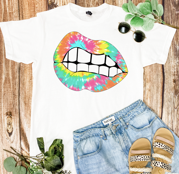 Tie Dye Mouth Graphic Tee