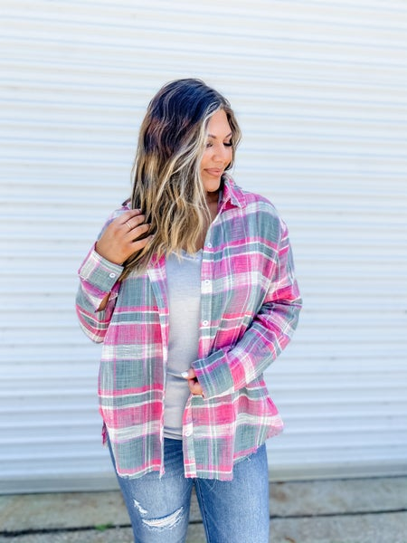 A Plaid Bit Edgy Pink Button Down Top