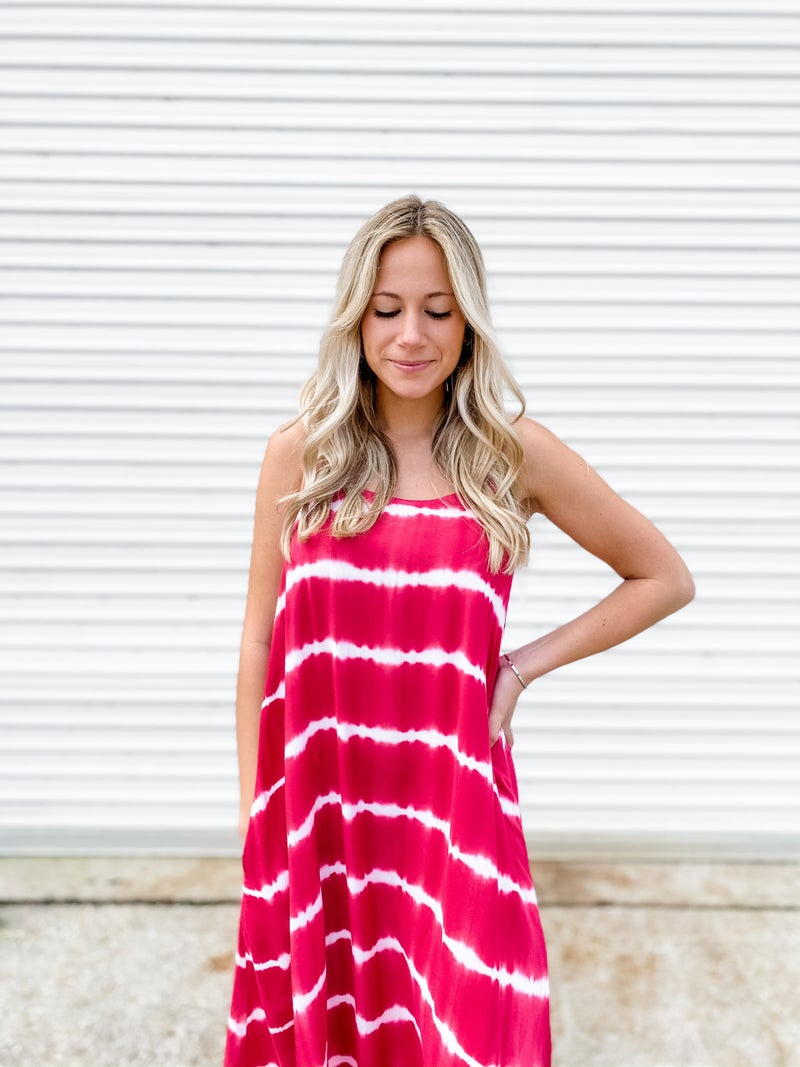 Crossing The Line Raspberry Tie Dye Maxi Dress
