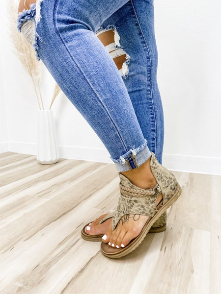 Beige Print Zip Up Sandal