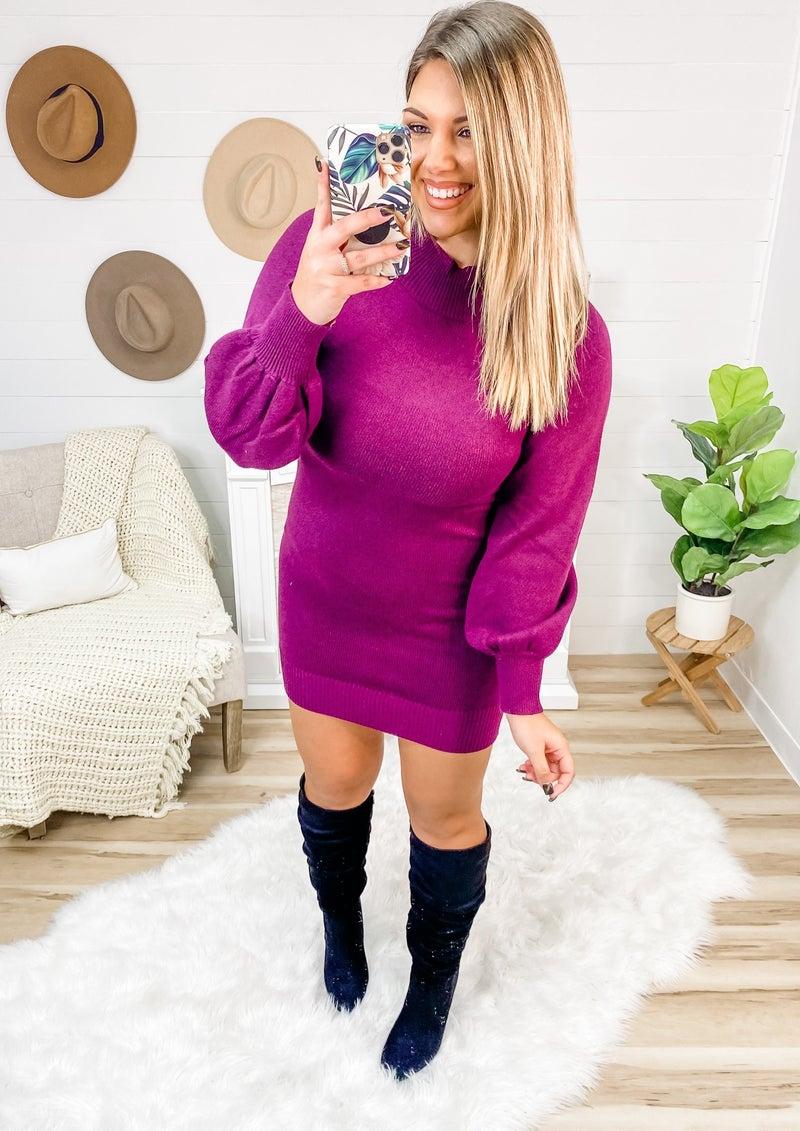 Best Trend Balloon Sleeve Sweater Dress