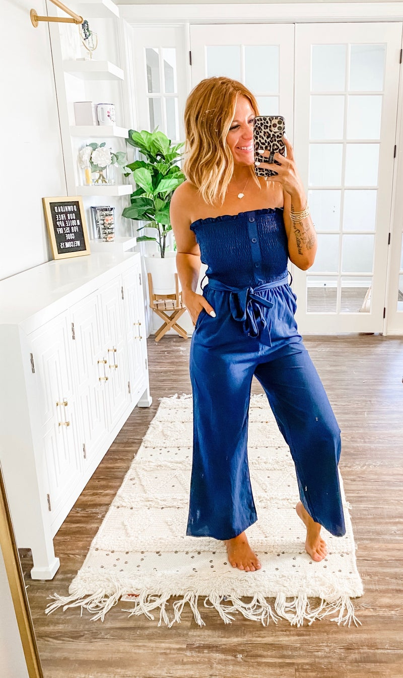 Sweet Thing Navy Smocked Jumpsuit