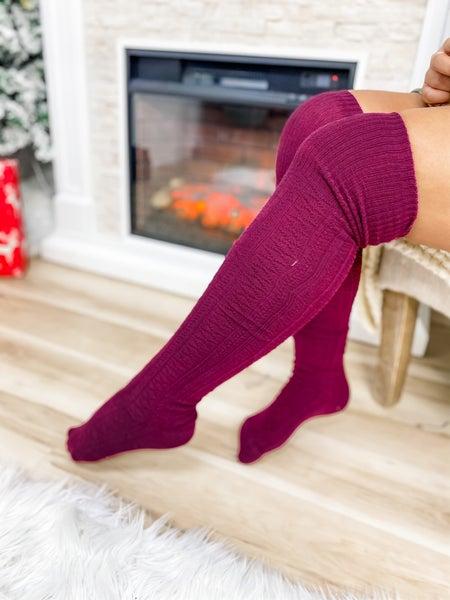 Wine Thigh High Socks