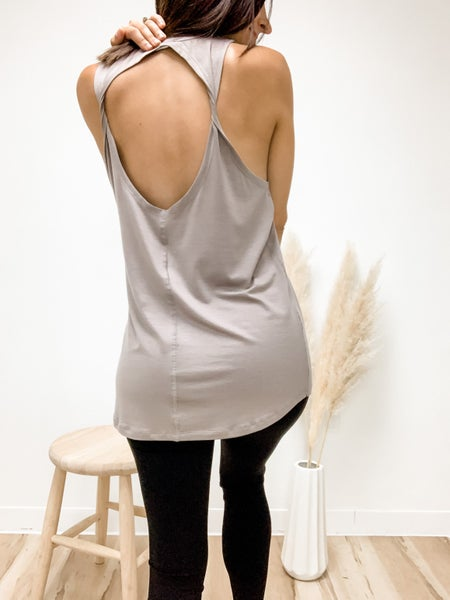 A Twist Back In Time Taupe Tank Top