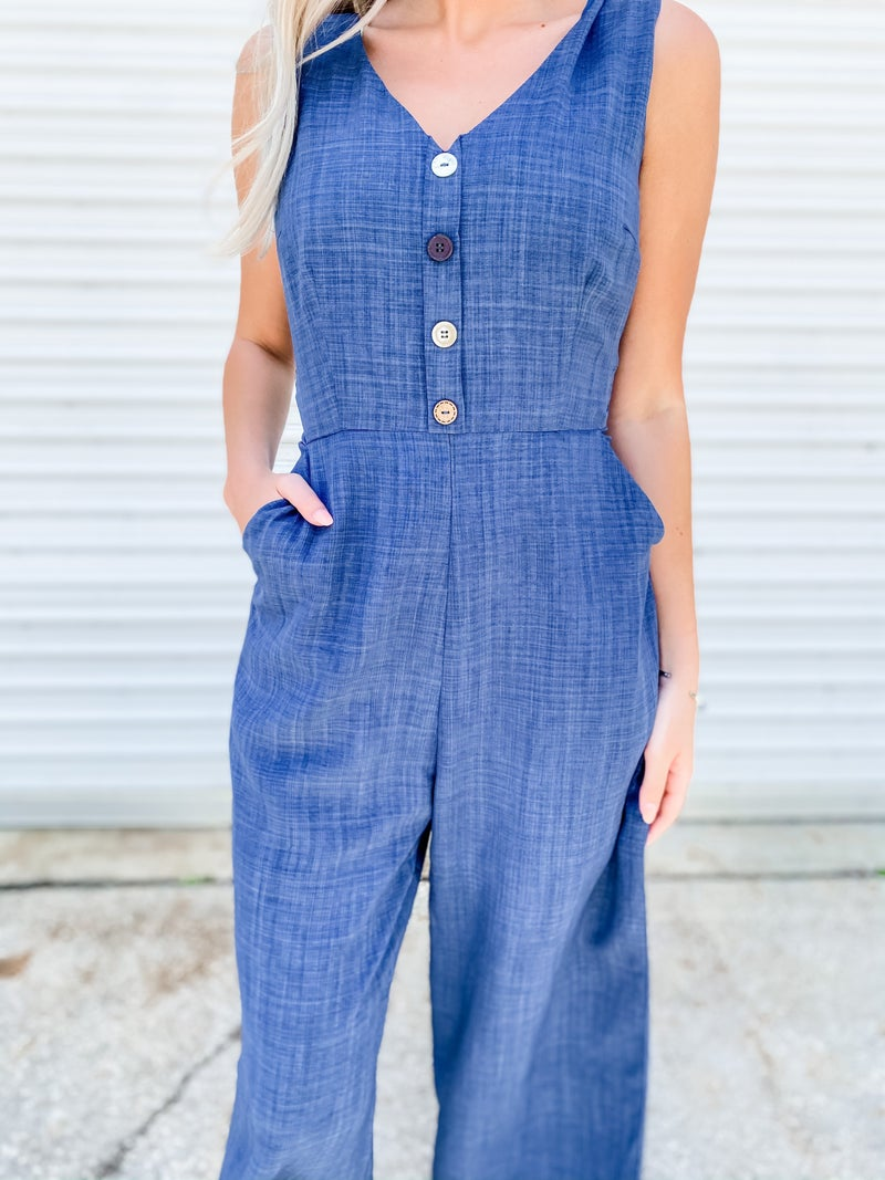 It's A Shore Thing Navy Jumpsuit