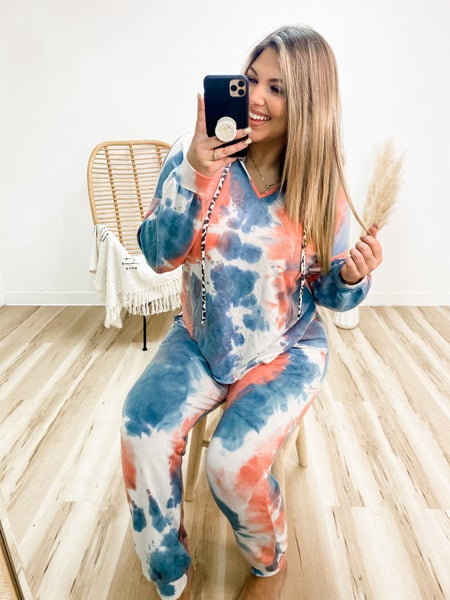 Spark Your Interest Coral And Blue Tie Dye Complete Lounge Set