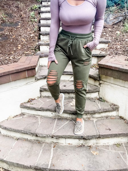 On The Way Distressed Joggers