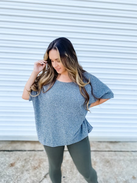It's Effortless Charcoal Over-Sized Top