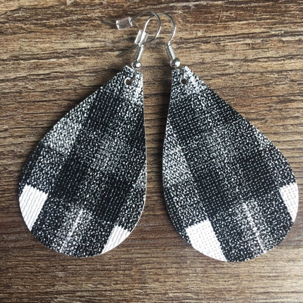 White black distressed plaid earrings