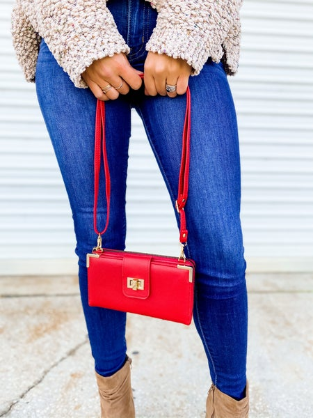 Red Bi-fold Crossbody Wallet