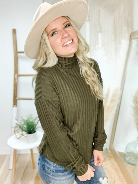In A Hurry Olive Mock Neck Top