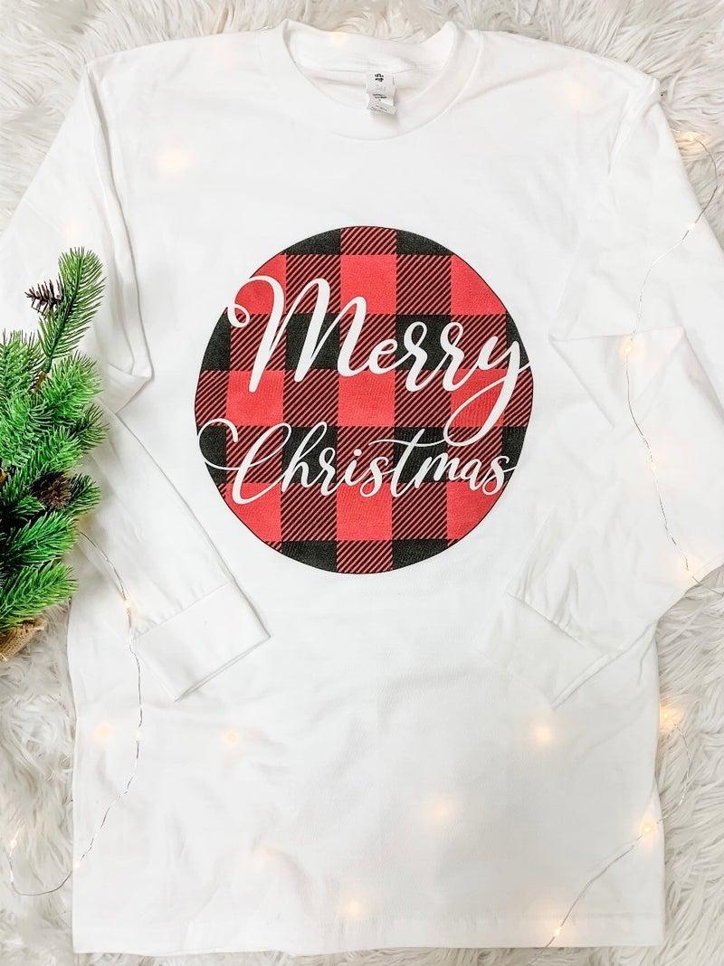 Buffalo Plaid Christmas Long Sleeve Graphic Tee