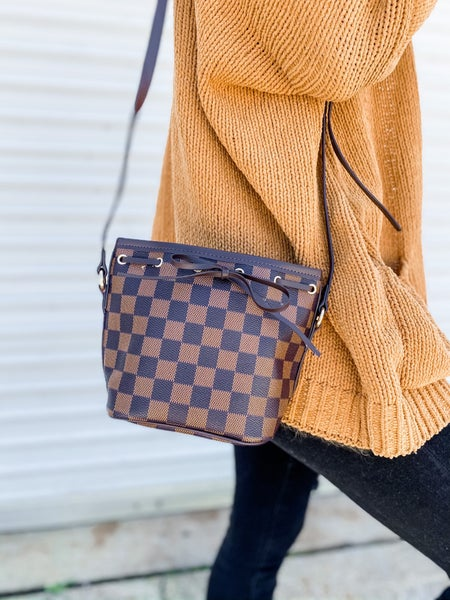 Brown Checkered Mini Bucket Bag with Adjustable Strap
