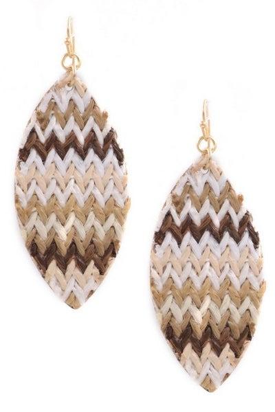 Beige Paper Weave Teardrop Earrings
