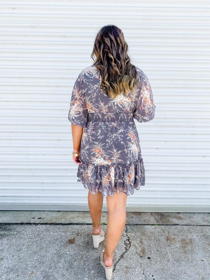 Out For Brunch Grey Floral Dress