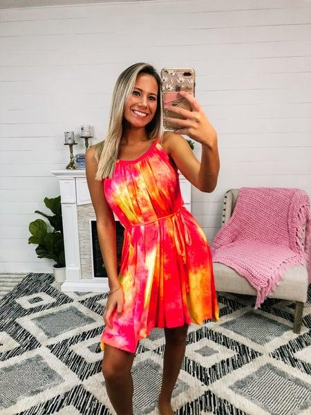 Brighter Days Orange Tie-Dye Dress