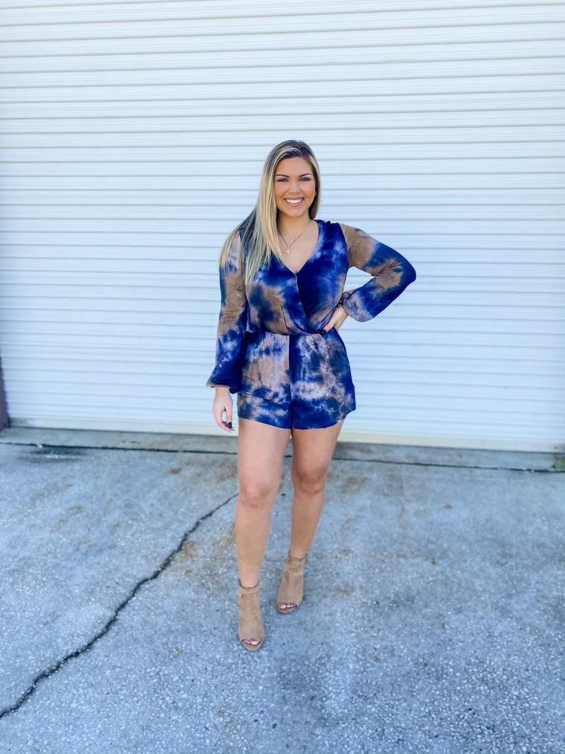 Got You Wrapped Navy And Mocha Romper