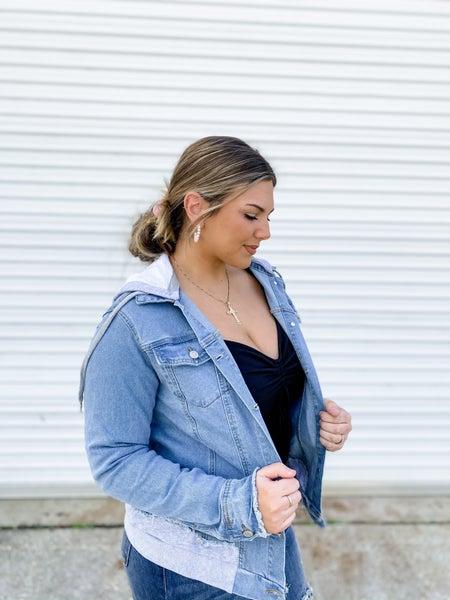 Take Off The Edge Blue Denim Knit Jacket