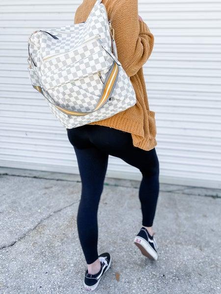 Cream Plaid Checkered Convertible Bag