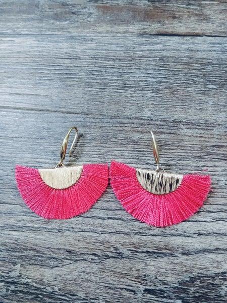 PINK FAN TASSEL EARRINGS