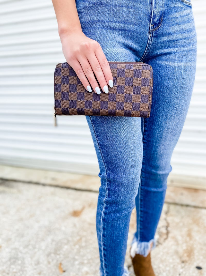 Brown Checkered Faux Leather Wallet