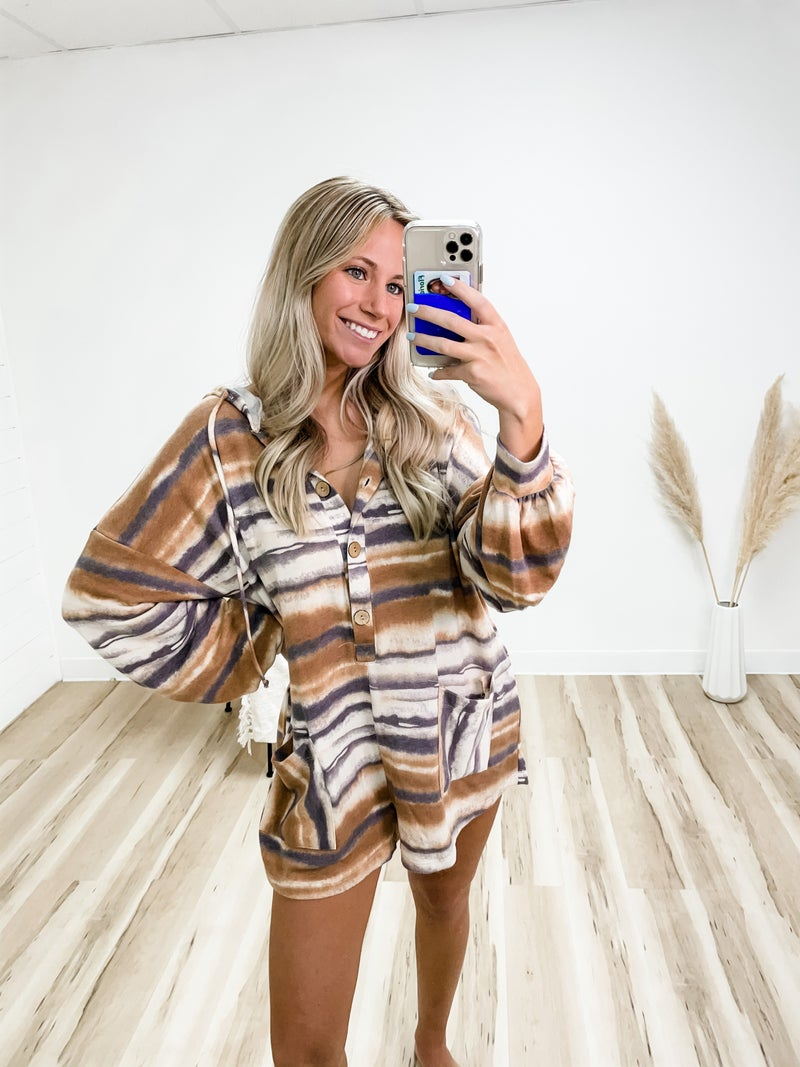 Stay Close Romper With Hoodie