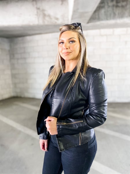 Zip To My Lou Black Faux Leather Jacket