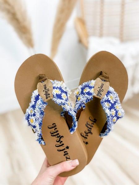 Navy Daisy Frayed Flip Flop