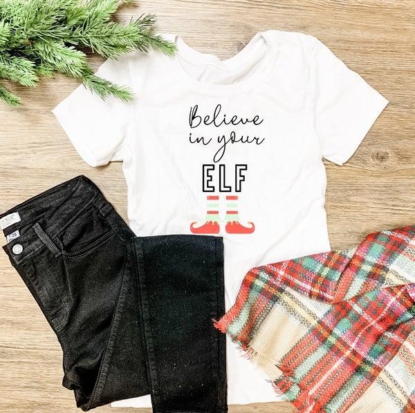 Believe In Your Elf graphic tee
