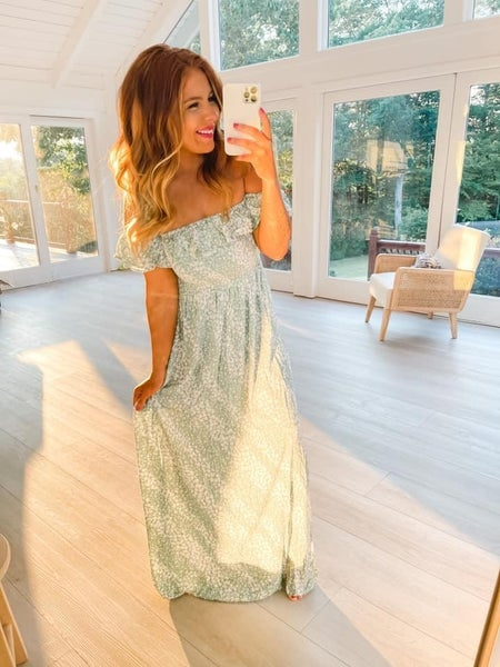 Off To The Beach Seafoam Floral Dress
