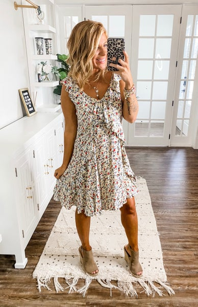 Come Into Bloom Floral Ruffled Dress