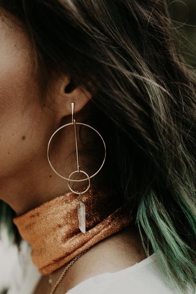 Gold Double Hoop Crystal Earrings