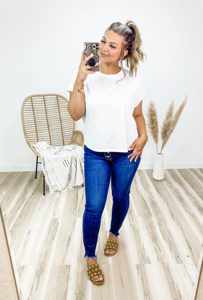 Simply Mine White Lightweight Knit Top