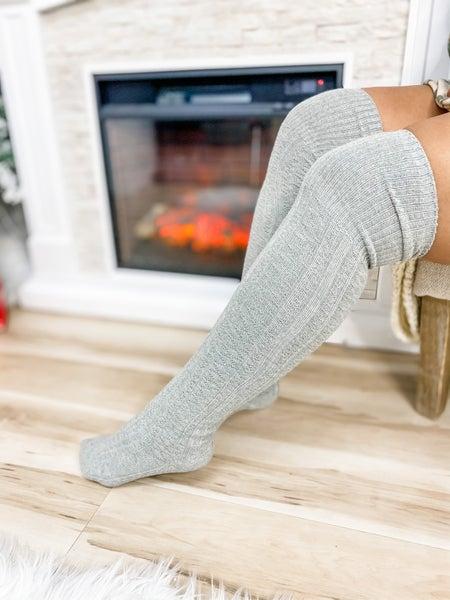 Light Grey Thigh High Socks