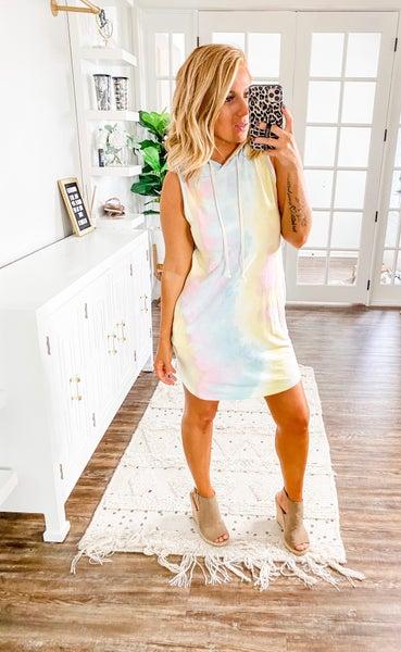 Built In Tie-Dye Hooded Dress