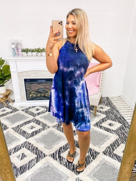 Thrilled To Bits Navy Knit Dress