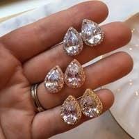 CZ Crystal Teardrop Stud Earrings