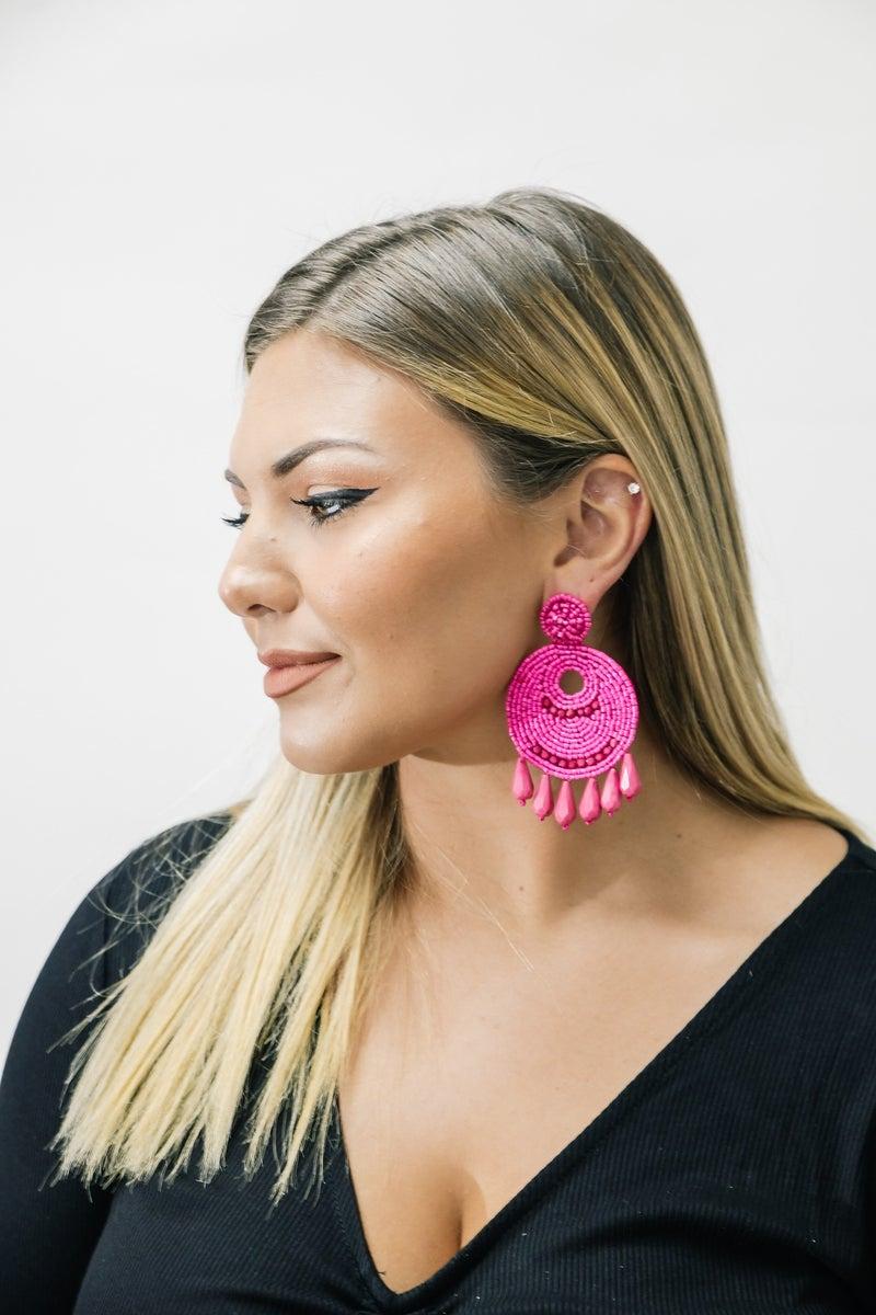 Hot Pink Beaded Drop Earrings