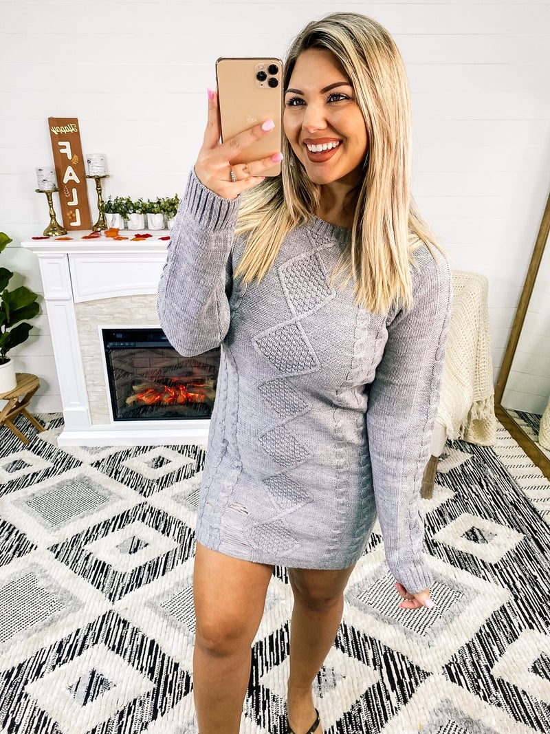 Dressed And Distressed Heather Grey Sweater Dress