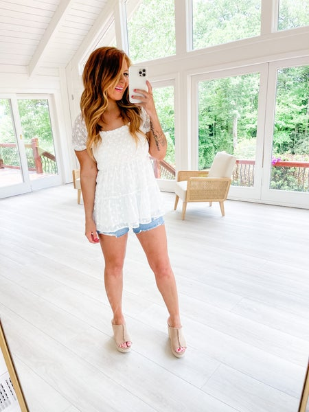 Baby It's You Ivory Lace Floral Babydoll Top
