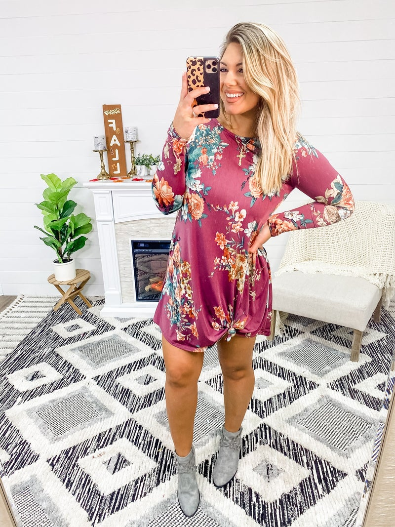 In My Opinion Dark Mauve Floral Dress