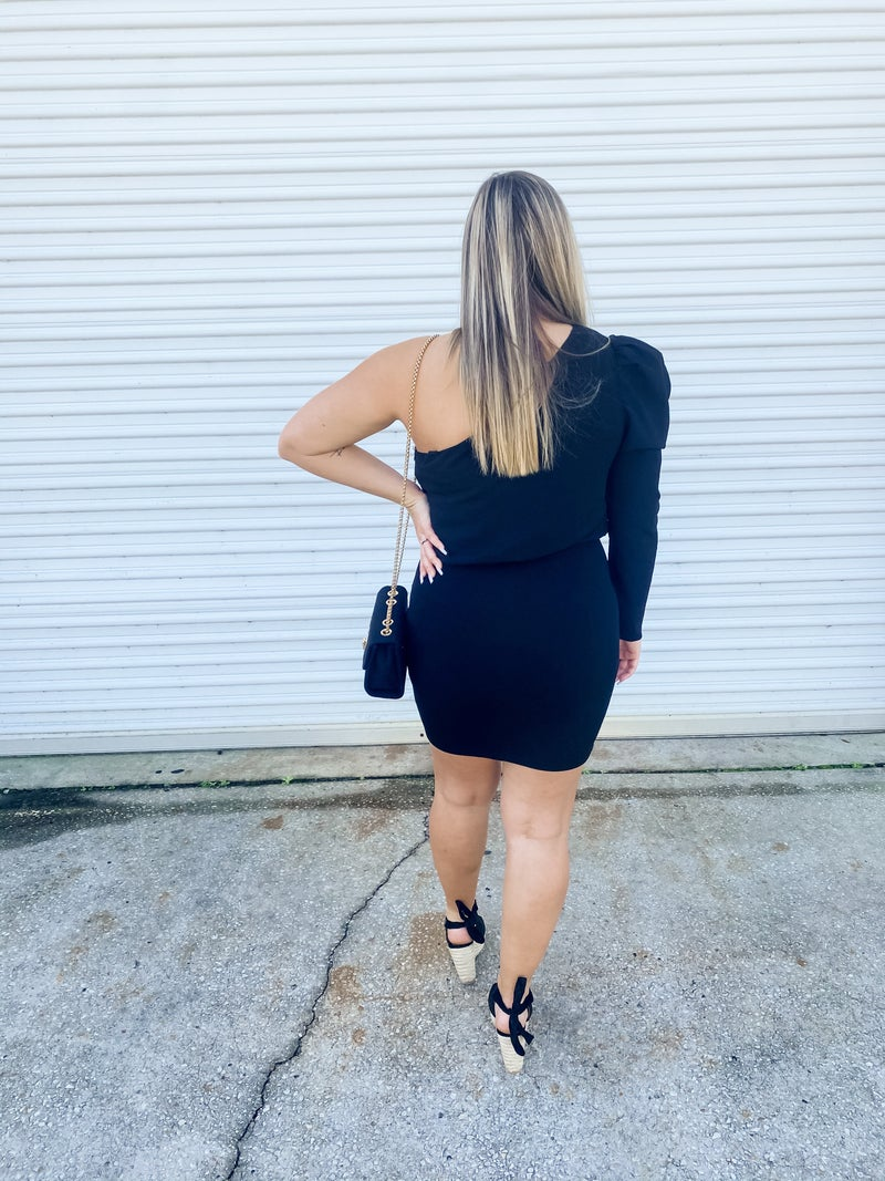 Feel The Romance Black One Shoulder Puff Sleeve Dress