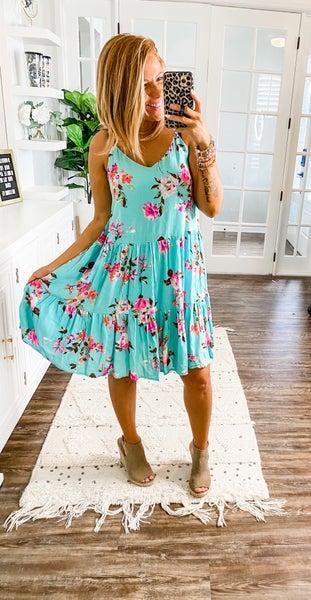 Nothin Bud Love Floral Aqua Dress