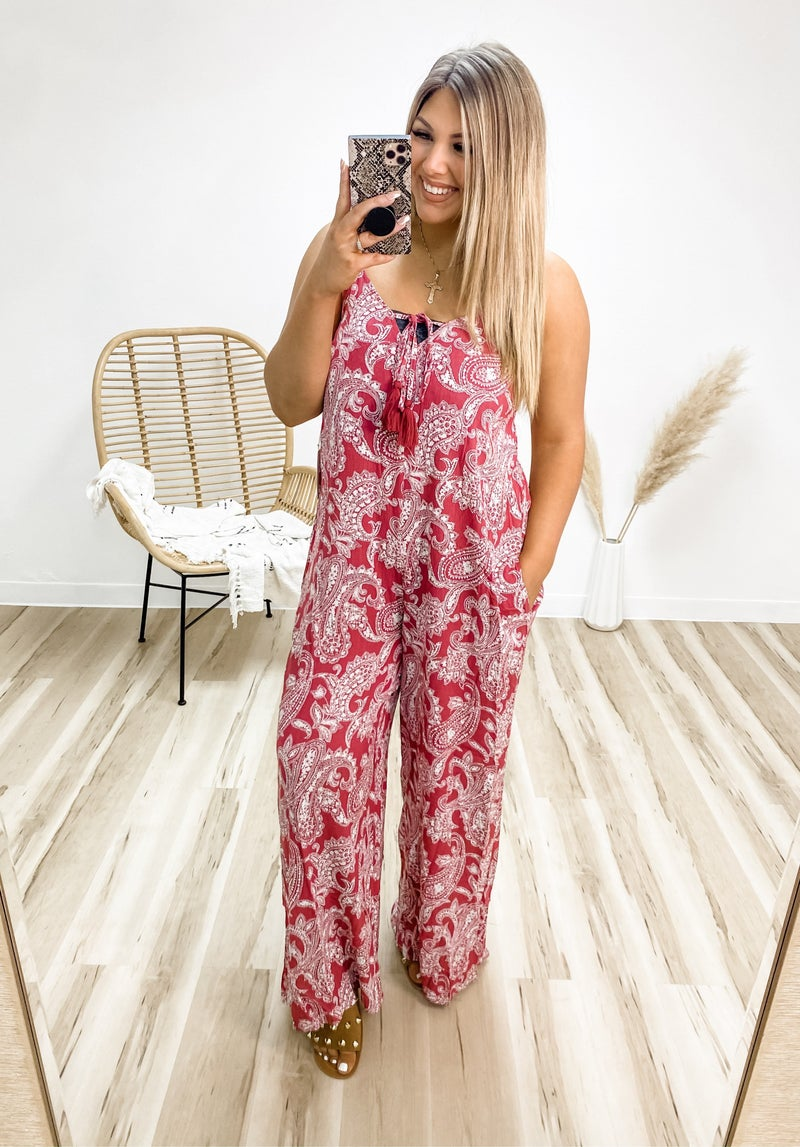 Not Phased Berry Paisley Jumpsuit